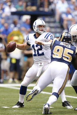 The Colts offensive line struggled to contain the Rams front-seven for much of the game.