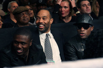 (from left to right) Andre Berto, adviser Al Haymon and Floyd Mayweather (courtesy of Tom Uhlman of the New York Times).
