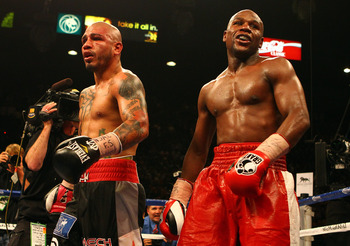 Cotto and Mayweather after their fight came to an end.