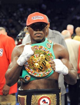 Andre Berto during the period when he was WBC champ instead of Mayweather.