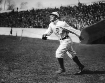 Sam Crawford, pictured here pursuing a fly ball in the 1912 season.  Photographer unknown.