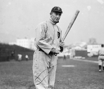 Ty Cobb was perhaps the greatest pure hitter to ever play baseball, and his career batting average proves it.  Photographer unknown.