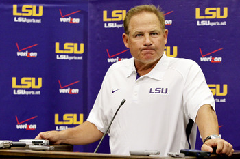 August 7, 2012; Baton Rouge, LA, USA;  LSU Tigers head coach Les Miles during LSU football media day at the Charles McClendon Practice Facility.  Mandatory Credit: Derick E. Hingle-US PRESSWIRE