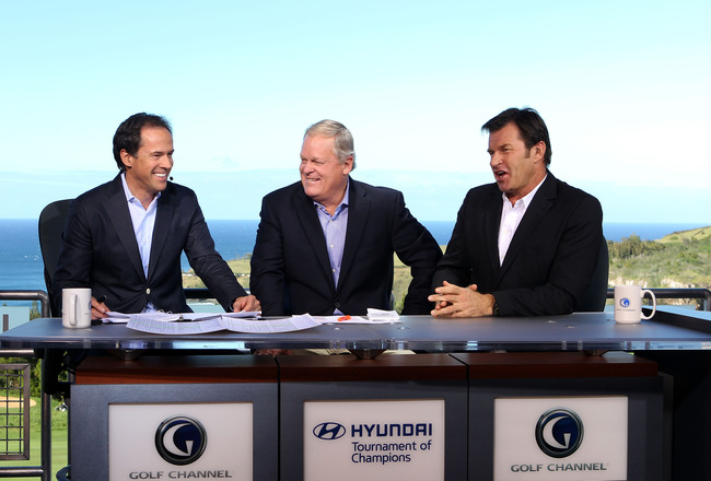 KAPALUA, HI - JANUARY 06:  Dan Hicks, (L) Johnny Miller, and Sir Nick Faldo (R) of The Golf Channel discuss the action during the first round of the Hyundai Tournament of Champions at the Plantation course on January 6, 2012 in Kapalua, Hawaii.  (Photo by