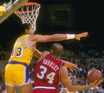 Mychal Thompson thwarting the Round Mound of Rebound.