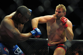 May 19, 2012; San Jose, CA, USA; Josh Barnett (right) fights Daniel Cormier (left) during the heavyweight tournament final bout of the Strikeforce World Grand Prix at HP Pavilion.  Mandatory Credit: Kyle Terada-US PRESSWIRE