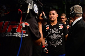 July 11, 2012; San Jose, CA, USA; Mark Munoz leaves the floor after being defeated by Chris Weidman (not pictured) in the middleweight bout of the UFC on Fuel TV at HP Pavilion. Mandatory Credit: Kyle Terada-US PRESSWIRE