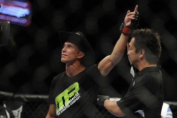 May 15, 2012; Fairfax, VA, USA; Donald Cerrone raises his hand in victory over Jeremy Stephens during the Korean zombie vs Poirier event at Patriot Center.  Mandatory Credit: Rafael Suanes-US PRESSWIRE