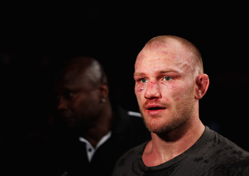 SYDNEY, AUSTRALIA - MARCH 03:  Martin Kampmann of Denmark leaves the anena after his victory during the UFC On FX welterweight bout between Martin Kampmann and Thiago Alves at Allphones Arena on March 3, 2012 in Sydney, Australia.  (Photo by Mark Kolbe/Ge