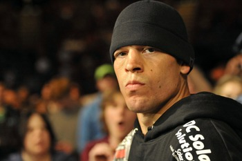 May 5, 2012; East Rutherford, NJ, USA;  Nate Diaz before his lightweight bout against Jim Miller during UFC on Fox 3 at the Izod Center. Nate Diaz wins by submission in round two Mandatory Credit: Joe Camporeale-US PRESSWIRE