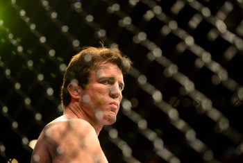 Jul. 7, 2012; Las Vegas, NV, USA; UFC fighter Chael Sonnen in the ring prior to his fight against Anderson Silva (not pictured) during a middleweight bout in UFC 148 at the MGM Grand Garden Arena. Mandatory Credit: Mark J. Rebilas-US PRESSWIRE