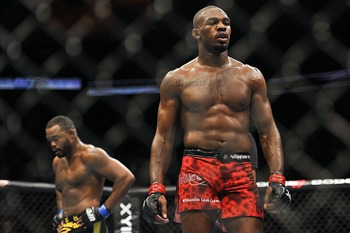 Apr 21, 2012; Atlanta, GA, USA; Jon Jones (right) during his bout against Rashad Evans in the main event and light heavyweight title bout during UFC 145 at Philips Arena. Mandatory Credit: Paul Abell-US PRESSWIRE