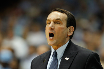 Mike Krzyzewski barking out orders