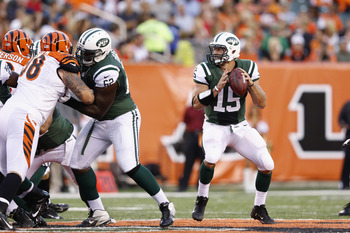 Tebow drops back in his first preseason game as a Jet.