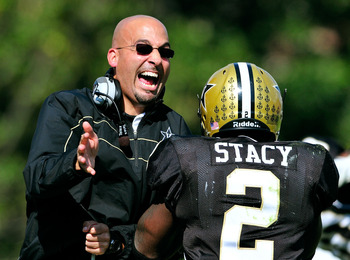 Vanderbilt head coach James Franklin (left) and RB Zac Stacy