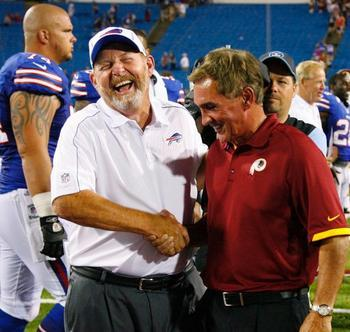 Mike Shanahan cracked up Buffalo's Chan Gailey after the Redskins 7-6 win. AP