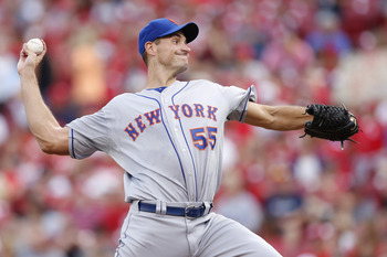 CINCINNATI, OH - AUGUST 14: Chris Young #55 of the New York Mets pitches during the game against the Cincinnati Reds at Great American Ball Park on August 14, 2012 in Cincinnati, Ohio. (Photo by Joe Robbins/Getty Images)