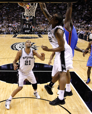 Leonard gets up against Oklahoma City in Game 2 of the Western Conference Finals.