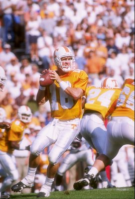 11 Oct 1997:  Quarterback Peyton Manning of the Tennessee Volunteers prepares to pass the ball during a game against the Georgia Bulldogs at Neyland Stadium in Knoxville, Tennessee.  Tennessee won the game 38-13. Mandatory Credit: Craig Jones  /Allsport
