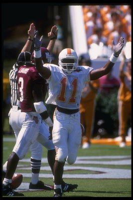 24 Sep 1994:  Wide receiver Joey Kent of the Tennessee Volunteers celebrates during a game against the Mississippi State Bulldogs at Scott Stadium in Starkville, Mississippi.  Mississippi State won the game, 24-21. Mandatory Credit: Jonathan Daniel  /Alls