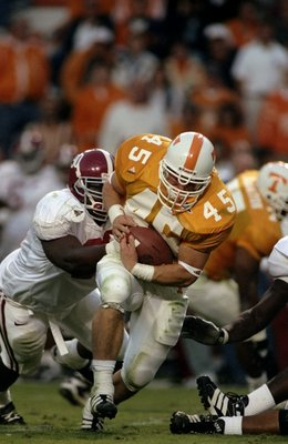 24 Oct 1998: Will Bartholomew #45 of the Tennessee Volunteers runs with the ball during a game against the Alabama Crimson Tide at the Neyland Stadium in Knoxville, Tennessee. The Volunteers defeated the Crimson Tide 35-18.