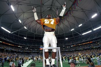 5 Dec 1998: Linebacker Al Wilson #27 of the Tennessse Volunteers stands on a ladder during the SEC Championships against the Mississippi State Bulldogs at the Georgia Dome in Athens, Georgia. Tennessee defeated Mississippi St. 24-14.
