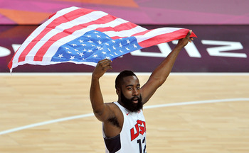 LONDON, ENGLAND - AUGUST 12: James Harden #12 of the United States celebrates winning the Men's Basketball gold medal game between the United States and Spain on Day 16 of the London 2012 Olympics Games at North Greenwich Arena on August 12, 2012 in Londo