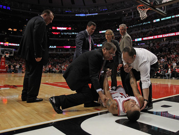 The injury to Rose left the Bulls without a natural point guard through the rest of the playoffs.