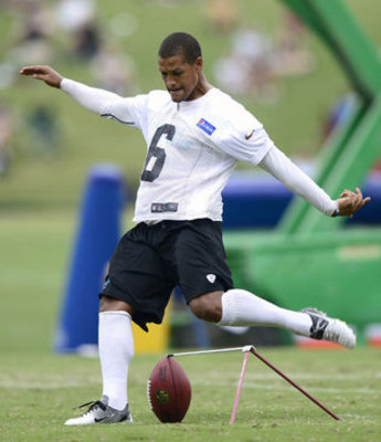 Justin Medlock (6) kicks at Panthers camp. Photo courtesy Charlotte Observer's Jeff Siner (jsiner@charlotteobserver.com)
