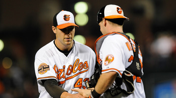 Jim Johnson with catcher Matt Wieters.