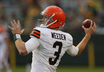 GREEN BAY, WI - AUGUST 16: Brandon Weeden #3 of the Cleveland Browns participates in warm-ups before a preseason game against the Green Bay Packers at Lambeau Field on August 16, 2012 in Green Bay, Wisconsin. (Photo by Jonathan Daniel/Getty Images)