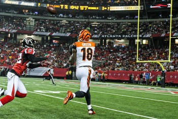 A.J. Green pulls in a pass at the Georgia Dome against the Falcons.