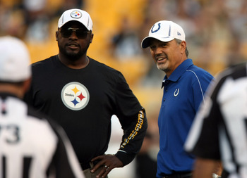 Head coaches Mike Tomlin (Steelers) and Chuck Pagano (Colts).