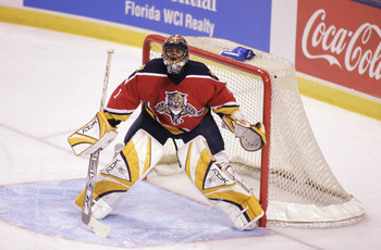 SUNRISE - MARCH 24: Roberto Luongo #1 of the Florida Panthers guards the net during the game against the New York Rangers at Bank Atlantic Center on March 24, 2006 in Sunrise, Florida. (Photo By Gregory Shamus/Getty Images)