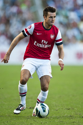 SO KON PO, HONG KONG - JULY 29:  Carl Jenkinson of Arsenal FC in action during the pre-season Asian Tour friendly match between Kitchee FC and Arsenal at Hong Kong Stadium on July 29, 2012 in Hong Kong.  (Photo by Victor Fraile/Getty Images)
