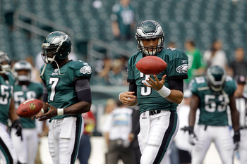 Hand injuries to Mike Vick (left) and Mike Kafka (right) has dampened Eagle fans' spirits in preseason