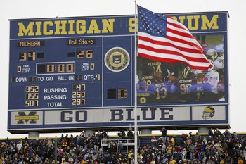 The scoreboard at The Big House perches above more than 107,000 fans each Saturday.