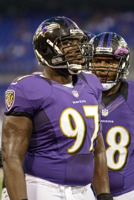 Aug 17, 2012; Baltimore, MD, USA; Baltimore Ravens defensive end Arthur Jones before the game against the Detroit Lions at M&amp;T Bank Stadium.  Mandatory Credit: Paul Frederiksen-US PRESSWIRE
