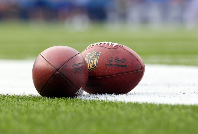 Aug. 9, 2012; Orchard Park, NY, USA;  A general view of the footballs used during a game between the Buffalo Bills and the Washington Redskins at Ralph Wilson Stadium.  Mandatory Credit: Timothy T. Ludwig-US PRESSWIRE