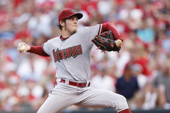 CINCINNATI, OH - JULY 17: Trevor Bauer #17 of the Arizona Diamondbacks pitches during the game against the Cincinnati Reds at Great American Ball Park on July 17, 2012 in Cincinnati, Ohio. (Photo by Joe Robbins/Getty Images)