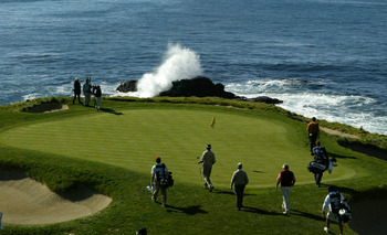 Perhaps the most picturesque hole in golf, the par 3 seventh at Pebble Beach Golf Links