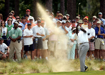 Vijay Singh hits a shot from one of Pinehurst No. 2's famed waste areas
