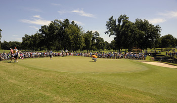 A typical sunny, hot day on one of Southern Hills' big putting surfaces