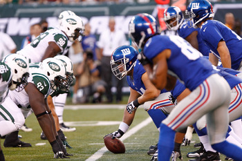 Aug. 18, 2011; East Rutherford, NJ, USA; Players from the New York Giants and the New York Jets line up during the first quarter at MetLife Stadium. Mandatory Credit: Debby Wong-US PRESSWIRE