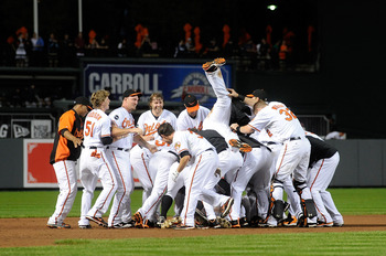 The Orioles celebrated their victory like they had just won the pennant.