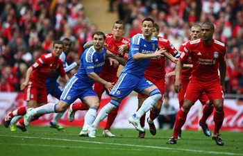 Chelsea playing Liverpool in the FA Cup Final at Wembley