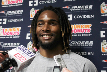 FOXBORO, MA - MAY 11:   Brandon Bolden #38 of the New England Patriots speaks during a press conference before the start of the 2012 Rookie Mini Camp at Gillette Stadium on May 11, 2012 in Foxboro, Massachusetts. (Photo by Jim Rogash/Getty Images)