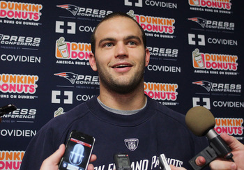 FOXBORO, MA - MAY 11:  Jeremy Ebert #80 of the New England Patriots speaks during a press conference before the start of the  2012 Rookie Mini Camp at Gillette Stadium on May 11, 2012 in Foxboro, Massachusetts. (Photo by Jim Rogash/Getty Images)