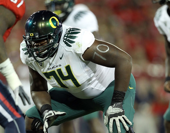 TUCSON, AZ - SEPTEMBER 24:  Offensive lineman Darrion Weems #74 of the Oregon Ducks during the college football game against the Arizona Wildcats at Arizona Stadium on September 24, 2011 in Tucson, Arizona.  The Ducks defeated the Wildcats 56-31.  (Photo