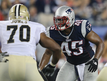 FOXBORO, MA - AUGUST 9:    Dont'a Hightower #45  of the New England Patriots guards the line during a preseason game against the Orleans Saints in the first half at Gillette Stadium on August 9, 2012 in Foxboro, Massachusetts. (Photo by Jim Rogash/Getty I